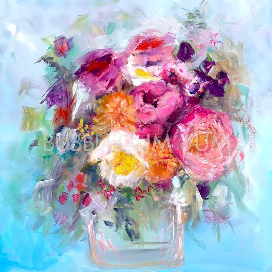 Self-Adhesive Artisan Print - Blue Skies Floral
