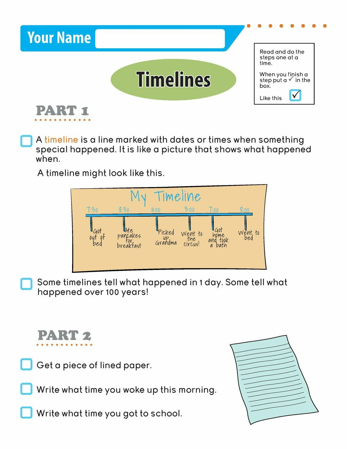 Independent Learning Activity - Timelines