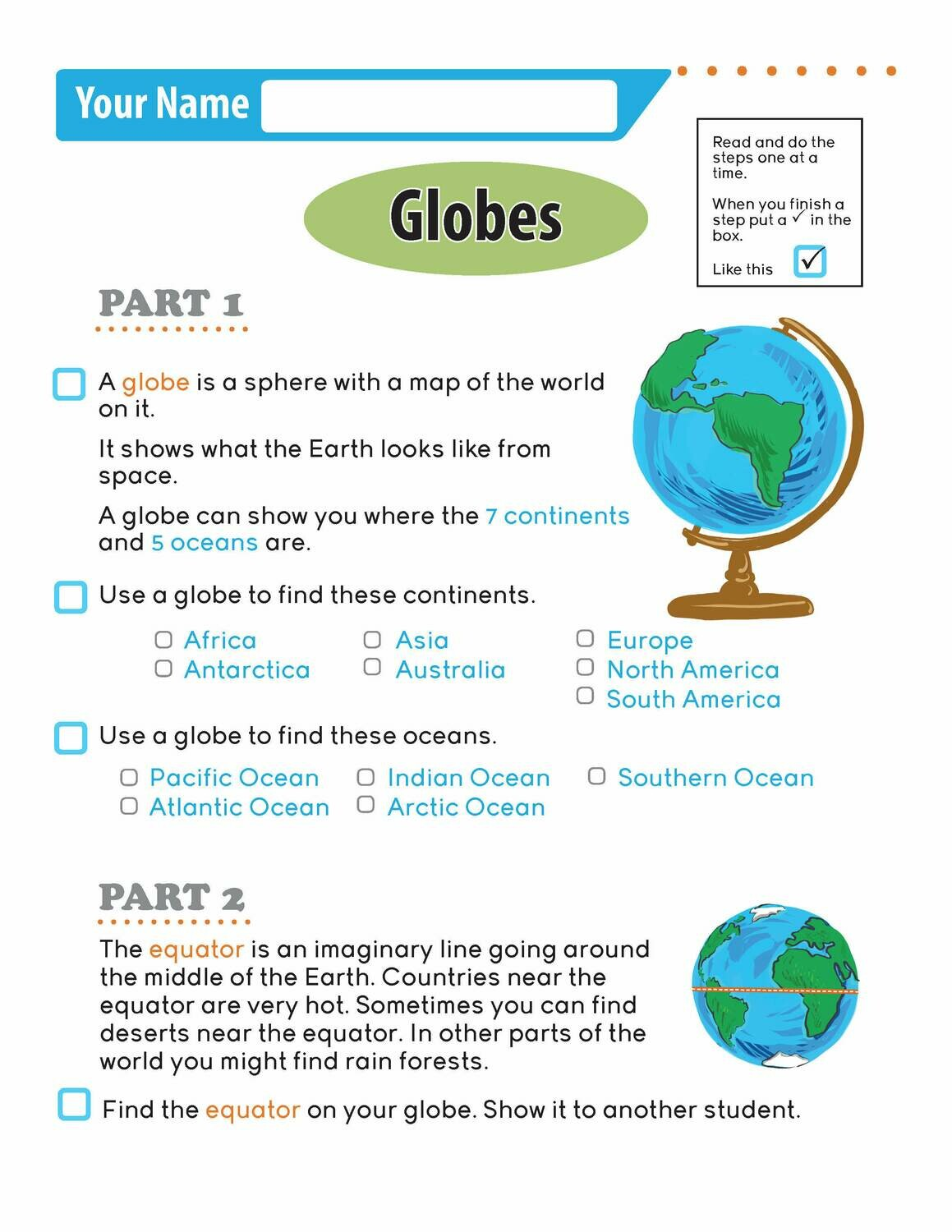 Independent Learning Activity - Globes