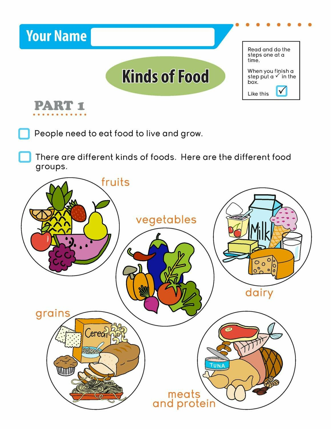 Independent Learning Activity - Kinds of Food