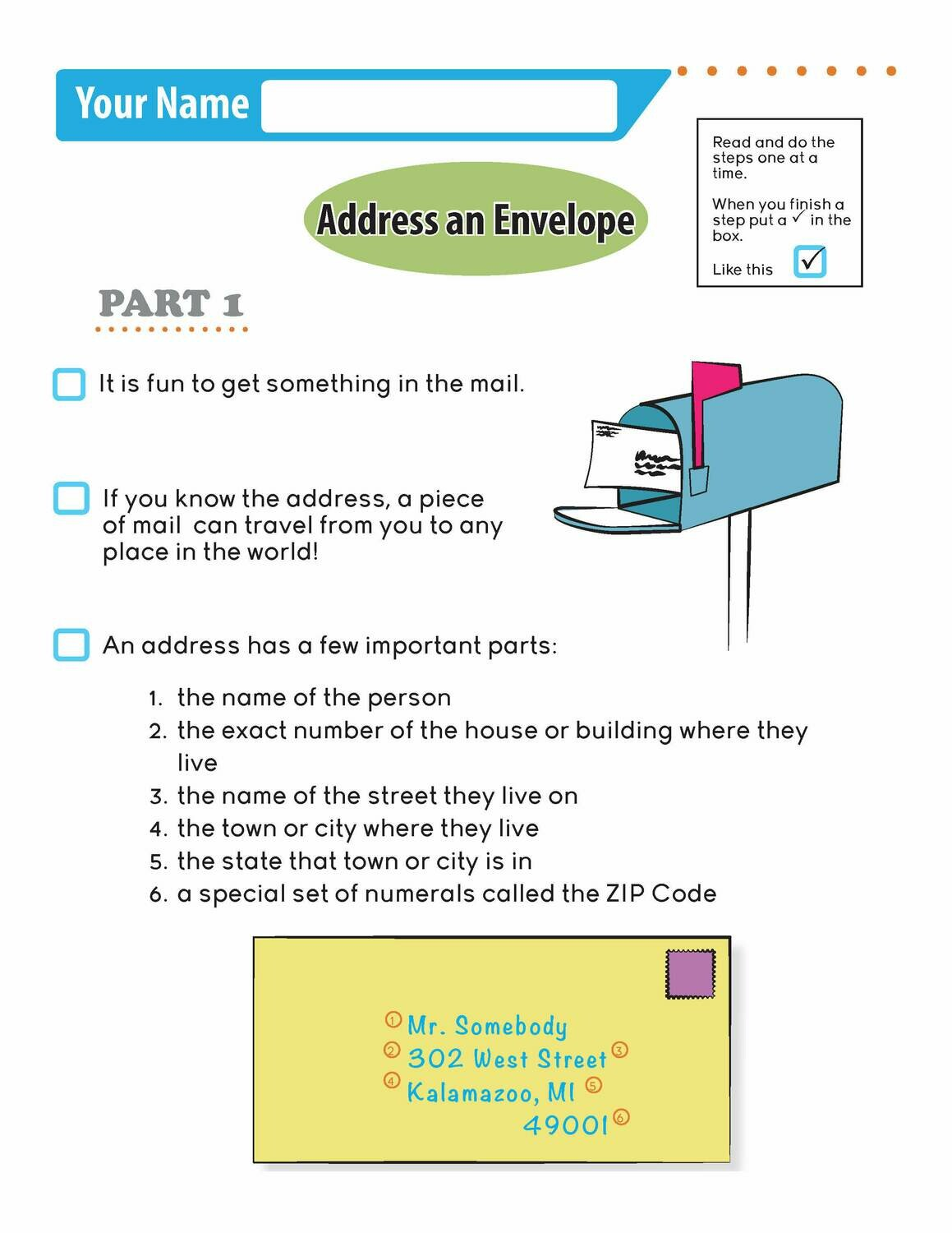 Independent Learning Activity - Address an Envelope