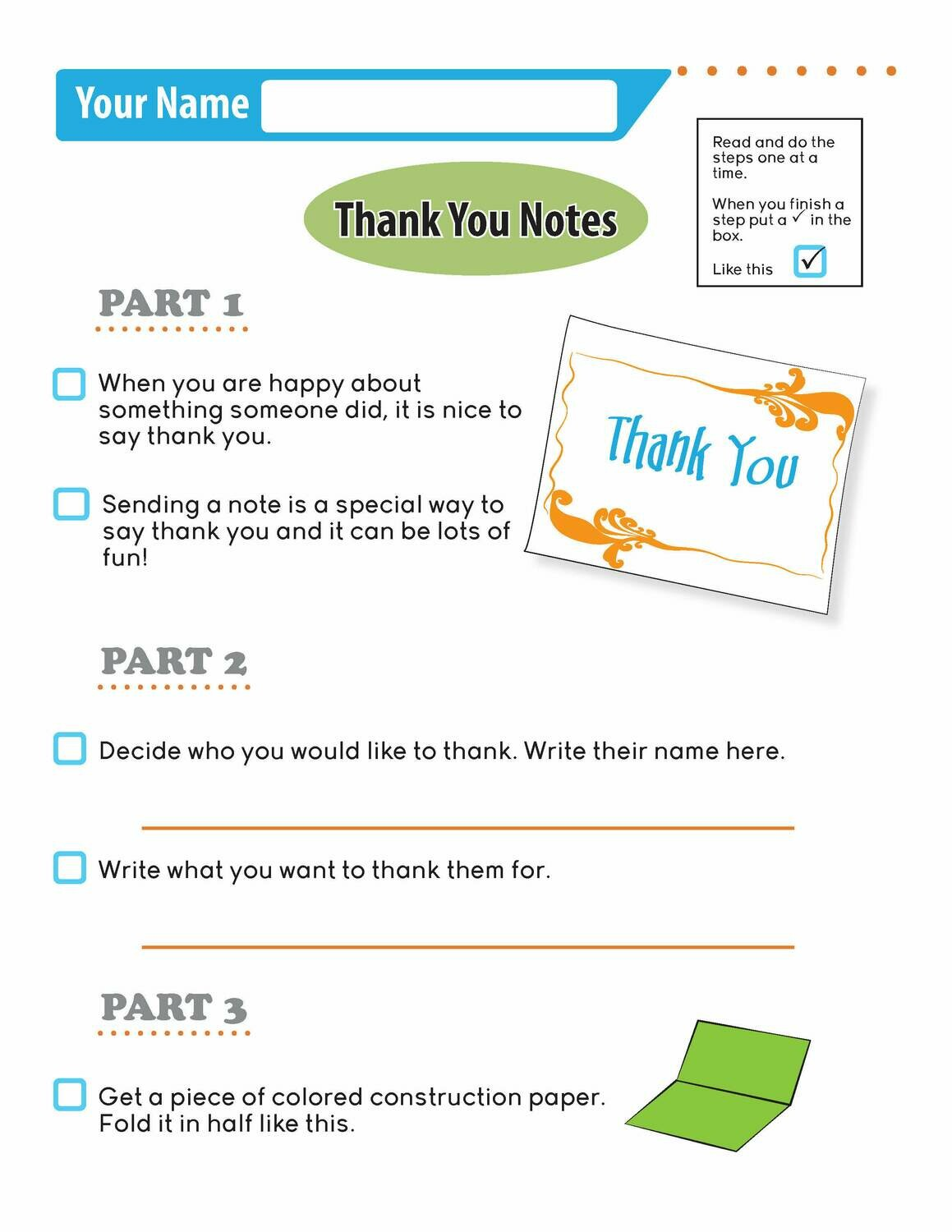 Independent Learning Activity - Thank You Notes