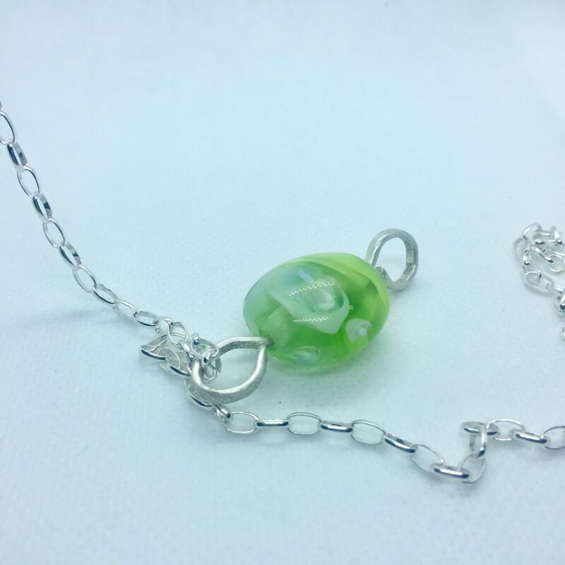 green handmade lampwork glass bead pendant