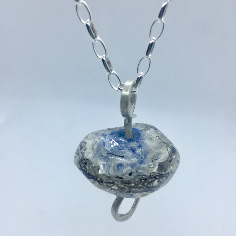 handmade lamp work sea-blue glass bead pendant