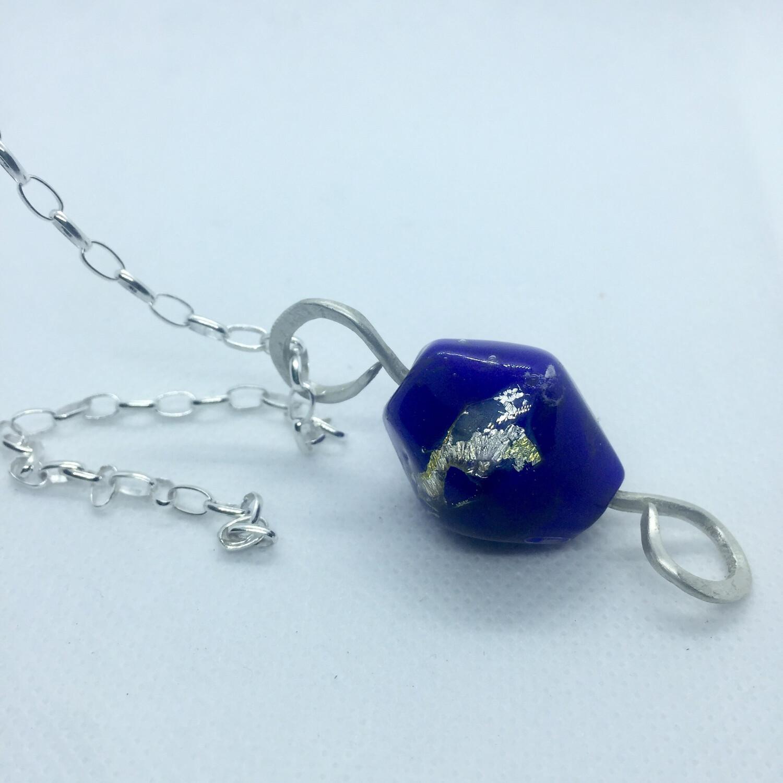 handmade emubead cadmium blue pendant