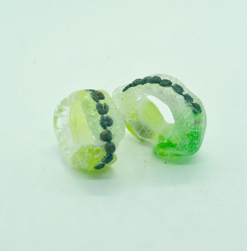 sea wash green pair with inclusions
