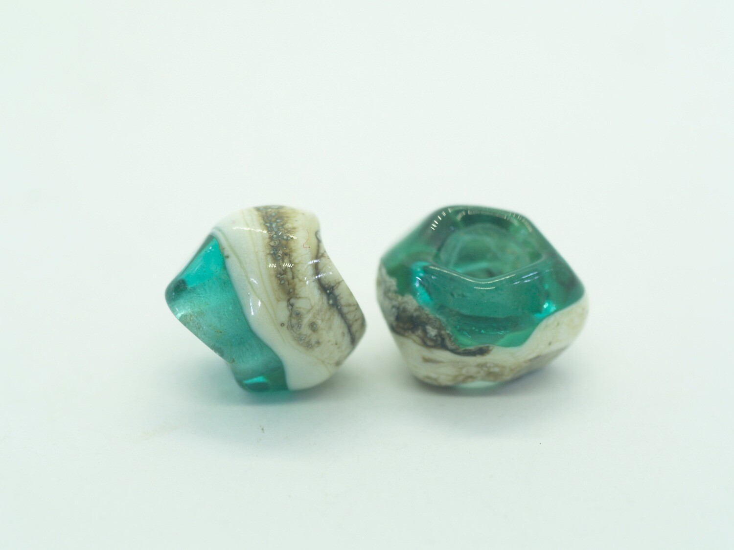 teal and ivory emubeads pair