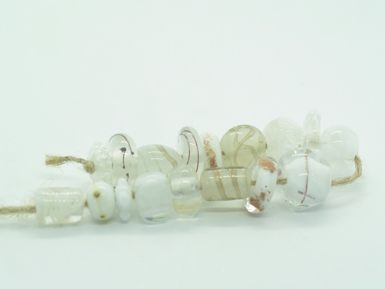 white emubeads strand for making jewellery
