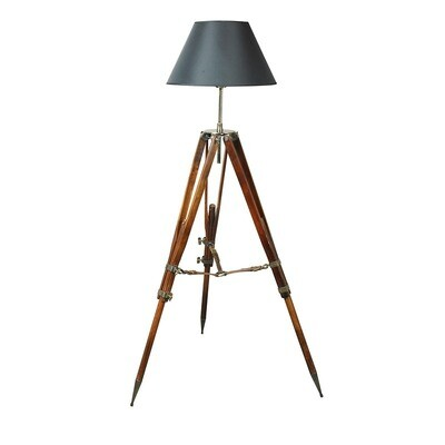 CAMPAIGN TRIPOD LAMP - BLACK SHADE
