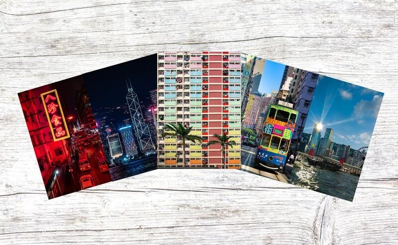 (Sights of Hong Kong) A Set of 5 Blank Greeting Card Pack