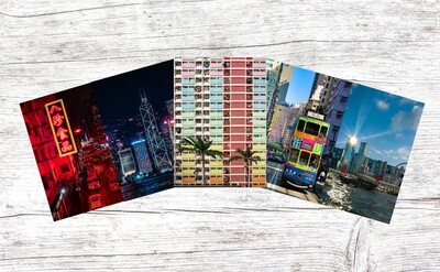 (Sights of Hong Kong) A Set of 5 Blank Greeting Card Pack