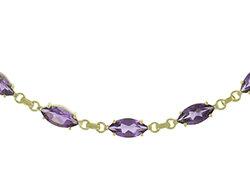 9ct Gold Amethyst Bracelet 7.5