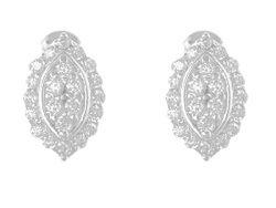 Silver CZ Oval Stud Earrings