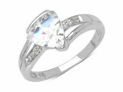 Silver White Topaz & Diamond Ring