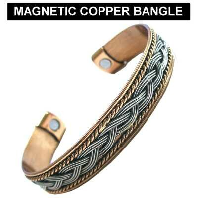 Copper and rhodium colour magnetic cuff bangle