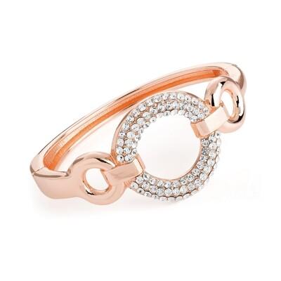 Rose gold colour crystal round design hinge bangle