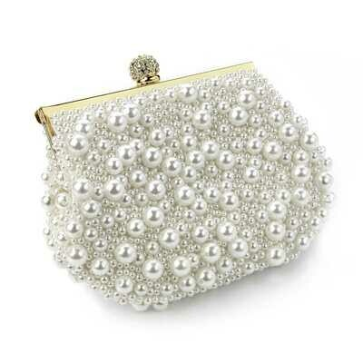 Gold & cream pearl colour bead crystal clutch bag