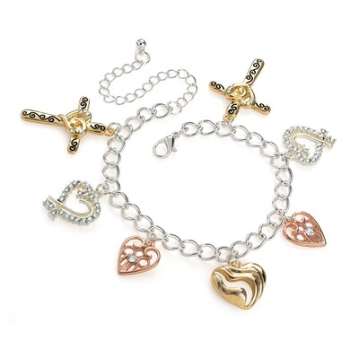 Three tone gold, rhodium and silver colour charm bracelet