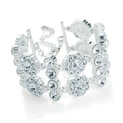 Silver colour crystal chain bracelet