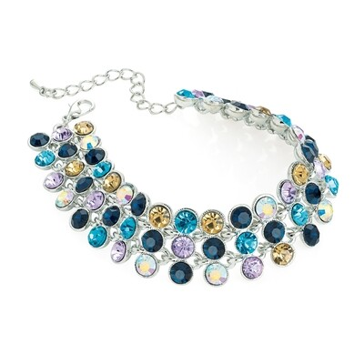Rhodium colour multi blue tone crystal bracelet