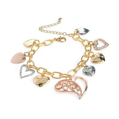 Three tone rose gold, gold and rhodium colour charm bracelet