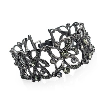 Hematite and black diamond colour crystal bracelet