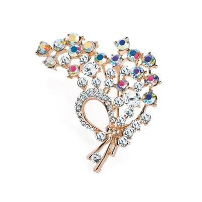 Rose gold colour crystal and AB crystal effect leaf design brooch