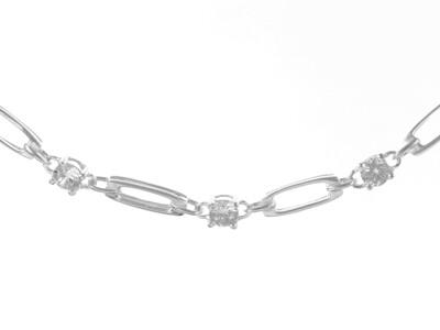 Silver & Cubic Zirconia Bracelet 7.5
