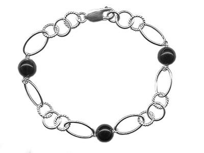 Silver & Onyx Handmade Bracelet 7.5