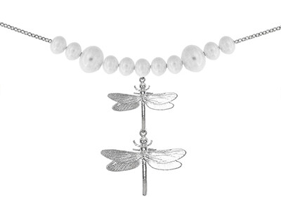 Silver Fancy Dragonfly Bracelet 7.5