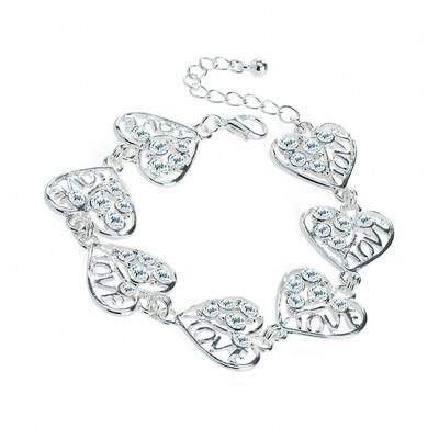 Silver colour crystal heart design chain bracelet