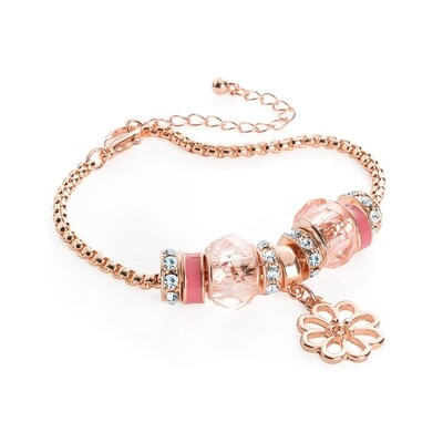 Rose gold colour pink tone flower design charm bracelet