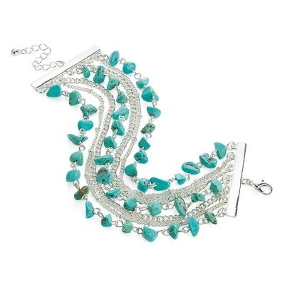 Seven row silver colour turquoise effect bead chain bracelet