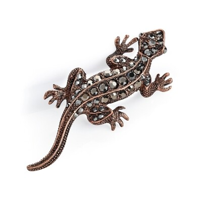 Burnished rose gold and hematite colour crystal lizard brooch