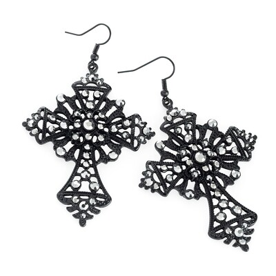 Black enamel and hematite colour glass bead cross design drop earring