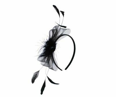 Black fur and feather fascinator headband