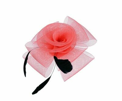 Coral floral and feather fascinator clip