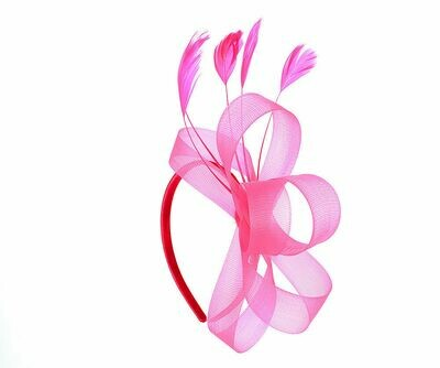 Fuchsia bow and feather fascinator headband