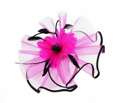 Fuchsia large feather flower fascinator