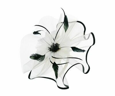 Beige large feather flower fascinator
