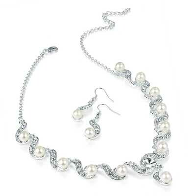 Silver & White Pearl colour crystal necklace set