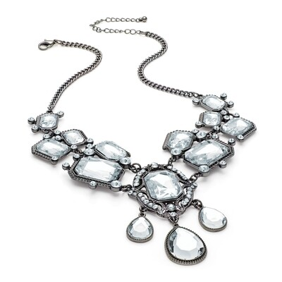 Hematite grey colour crystal bead chain necklace