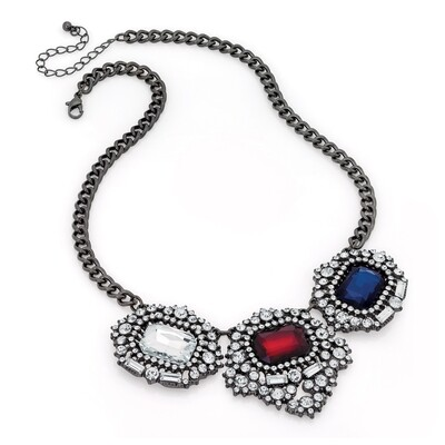 Shiny hematite grey colour red, blue and crystal chain necklace