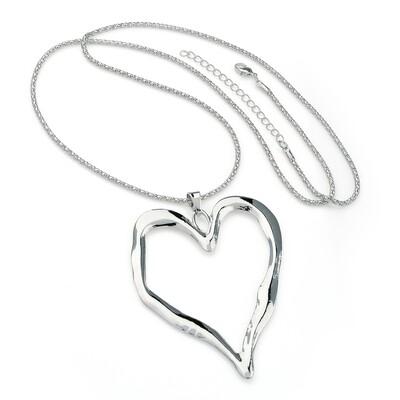 Shiny rhodium colour heart design chain necklace