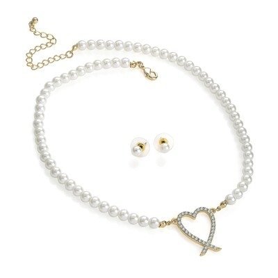 White Pearl colour, crystal heart design Necklace Set