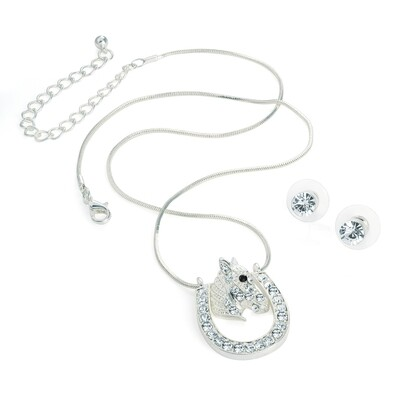 Silver colour horse shoe design chain necklace and earring set