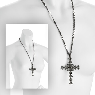 Hematite and black diamond colour crystal cross design chain necklace