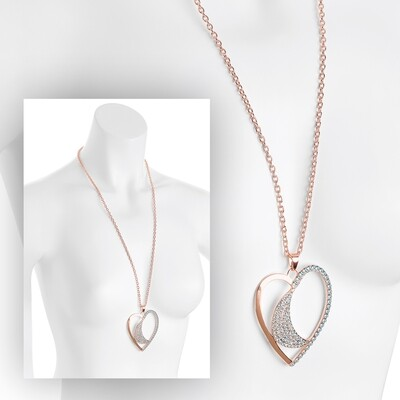 Rose gold colour crystal heart design chain necklace
