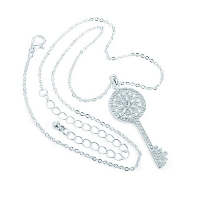 Silver colour crystal key design chain necklace