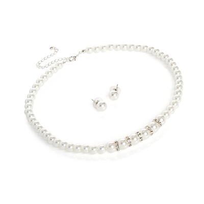 Silver colour crystal, white pearl effect Necklace set